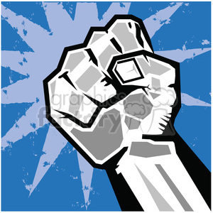 fist rebellion uprising insurrection illustration art blue clipart. Royalty-free image # 386457