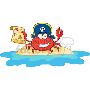 Pirate Crab Holding A Treasure Map On Island clipart. Commercial use image # 386477