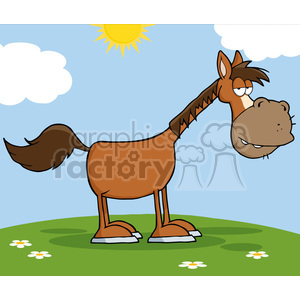 Horse Cartoon Mascot Character On A Meadow clipart. Commercial use image # 386487