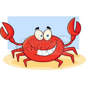 Funny Crab Cartoon Mascot Character clipart. Commercial use image # 386507