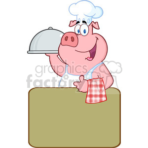 Happy Pig Chef Holding A Platter Over A Blank Sign clipart. Commercial use image # 386557