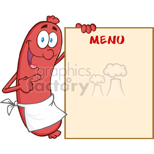 Happy-Sausage-Cartoon-Mascot-Character-Showing-Menu