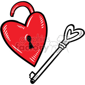love Valentines hearts cartoon vector lock key heart