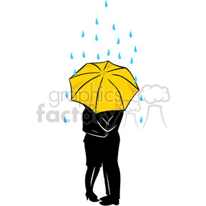 people in the rain sharing umbrella clipart. Commercial use image # 386636