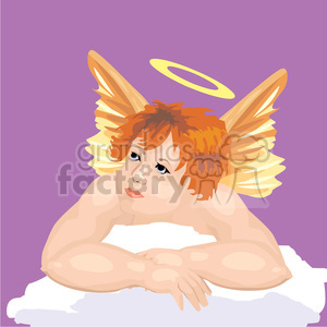 An Angel in the Clouds with a Halo  clipart. Royalty-free image # 156222