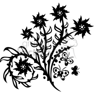 black+white swirl designs tattoo Chinese Asian floral organic vinyl+ready flowers butterfly