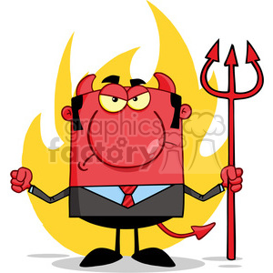 RF Angry Devil With A Trident clipart. Royalty-free image # 386834