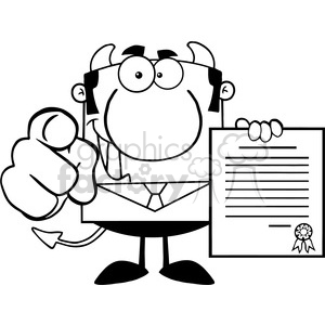 Clipart of Smiling Devil Boss Holds Up A Contract And Hand Pointing Finger clipart. Royalty-free image # 386844