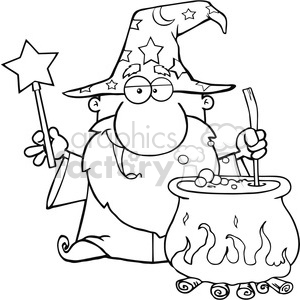 Clipart of Funny Wizard Waving With Magic Wand And Preparing A Potion clipart. Royalty-free image # 386854