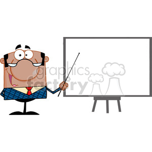 Clipart of Happy African American Business Manager With Pointer Presenting On A Board clipart. Royalty-free image # 386874
