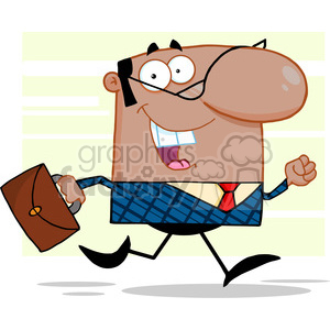 Royalty Free Lucky African American Business Manager Running To Work With Briefcase clipart. Royalty-free image # 386974