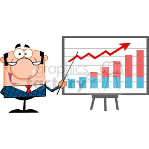 Clipart of Happy Business Manager With Pointer Presenting A Progressive Chart