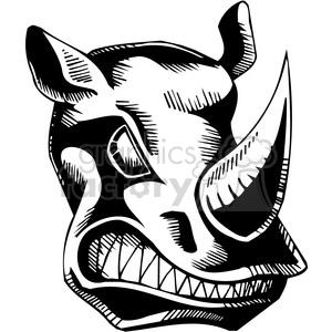 vinyl-ready black+white tattoo design animals creatures aggressive wild rhinoceros rhino
