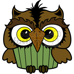 Cupcake Owl in color clipart. Royalty-free image # 387225