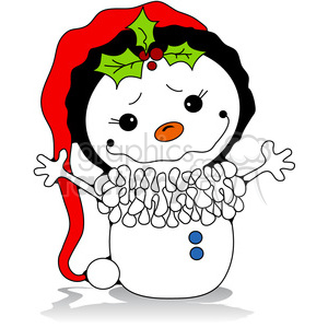 Snowman with red santa hat clipart. Royalty-free image # 387255