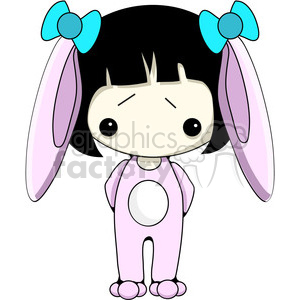 Girl in pink Bunny costume clipart. Commercial use image # 387448