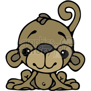 Monkey Sitting in color clipart. Commercial use image # 387534