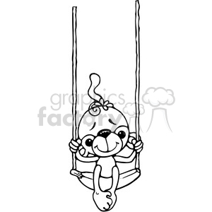 Monkey on Banana Swing clipart. Royalty-free image # 387625