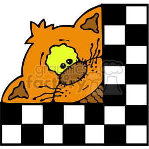 Kitty Cat Checker Sqr in color clipart. Royalty-free image # 387658