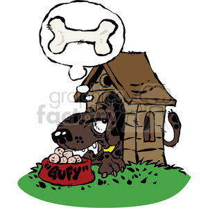 cartoon dog in a doghouse clipart. Commercial use image # 387772