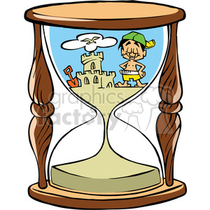 cartoon hourglass with sand castle on beach