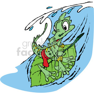 cartoon lizard surfing on a leaf clipart. Commercial use image # 387801