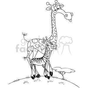 black and white cartoon giraffe with a zebra