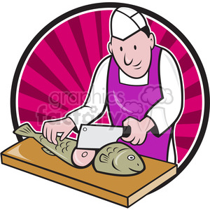 fishmonger chop fish 001 CIRC clipart. Royalty-free image # 387875