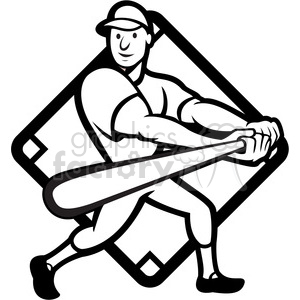 black and white baseball player batting side low diamond clipart. Commercial use image # 387895