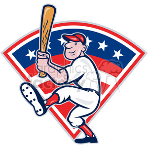 baseball player batting front kick diamond full clipart. Royalty-free image # 387905