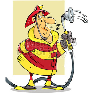 cartoon firefighter with water hose clipart. Royalty-free image # 387917