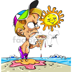 cartoon boy on beach with melting ice cream cone