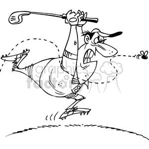 black white cartoon golfer chasing a bee clipart. Commercial use image # 387967