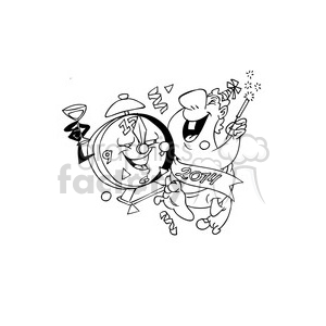black and white happy new year party celebration clipart. Royalty-free image # 388070