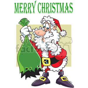 cartoon santa with ripped gift bag clipart. Royalty-free image # 388080