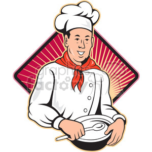 chef holding spoon and bowl front BG clipart. Royalty-free image # 388100