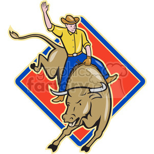 rodeo cowboy bull riding front DIA clipart. Commercial use image # 388110