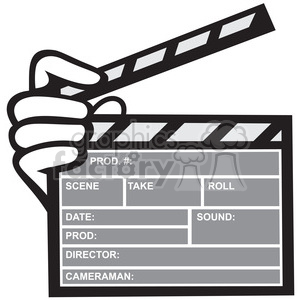 black and white movie clapboard front hand clipart. Royalty-free image # 388150