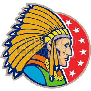 indian chief side headdress 001 clipart. Royalty-free image # 388160