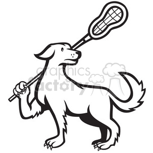 black and white dog lacrosse stick clipart. Royalty-free image # 388170