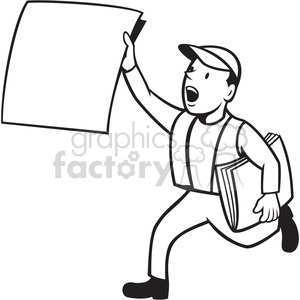 black and white newsboy newspaper run 2014 clipart. Commercial use image # 388180