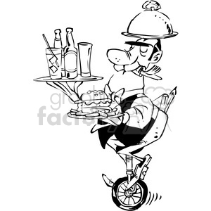 black and white cartoon waiter on a unicycle clipart. Royalty-free image # 388220