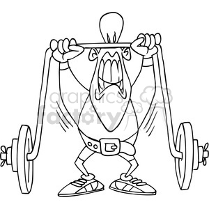 black and white cartoon weight lifter