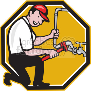 plumber wrench pipe tap clipart. Commercial use image # 388250
