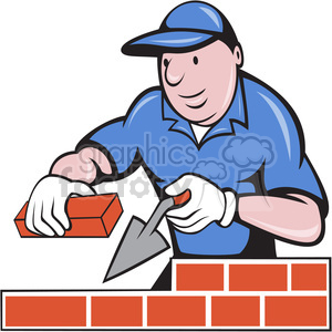 cartoon construction brick+layer man guy worker