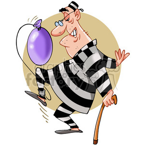 cartoon man in prison with a balloon tied to his ankle clipart. Commercial use image # 388320