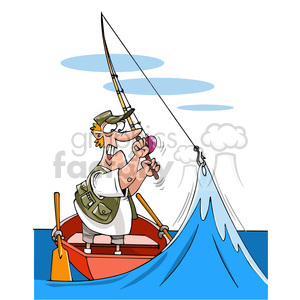 fisherman hooked wave funny cartoon fishing boat water river lake hooked ocean man surprised stuck fishing+pole simulation