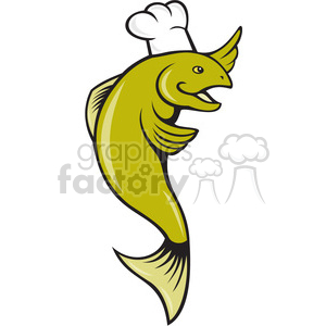 fish wearing a chefs hat clipart. Commercial use image # 388360