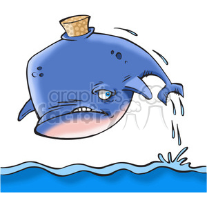 cartoon whale with cork stuck in it clipart. Commercial use image # 388398