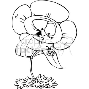 flower cartoon black and white clipart. Royalty-free image # 388428